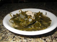 Red Kale & Mustard Greens and White Nothern Beans Soup - From Garden to Soup Bowl