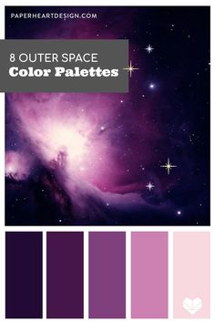 Color schemes inspired by nebulas, planets, stars, and more! Purple Color Schemes, Color Schemes Colour Palettes, Room Color Schemes, Colour Pallette, Color Palate, Color Combos, Summer Color Palettes, Purple Colors, Jewel Tone Colors