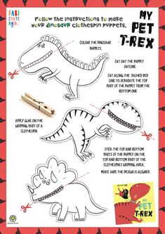 Dinosaur Art Projects, Dinosaur Crafts Kids, Fun Crafts For Kids, Craft Activities For Kids, Toddler Crafts, Diy For Kids, Bear Coloring Pages, Unicorn Coloring Pages, Puppet Crafts