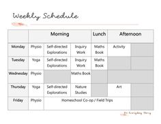 Weekly Schedule - In