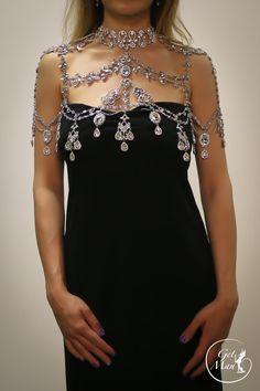 Crystal Shoulder Necklace Penelope Rhinestone by GetManJewelry