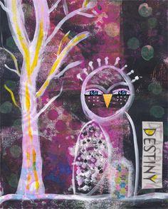 Owl Art, Owl Collage, Whimsical Owl Decor, Owl Print