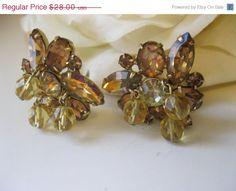 15% OFF SALE Vintage Kramer Rhinestone & Crystal bead Earrings