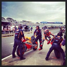 marc marquez, mid bike change at the shortened phillip island race 2013 - unfortunately 1 lap too late resulting in him being black flagged!