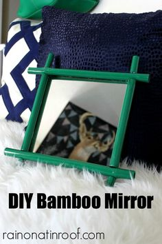Simple to make, just need a few items, some paint, and glue. DIY Bamboo Mirror {rainonatinroof.com} #trashtotreasure #bamboo #mirror