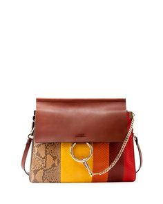 Chloe Faye Medium Python Paneled Bag, Brown Multi