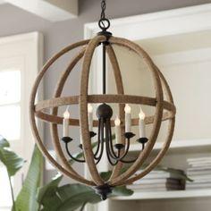 Orson Jute Orb Chandelier - traditional - chandeliers - - by Ballard Designs Foyer Lighting, Living Room Lighting, Living Room Decor, Dining Room, Lighting Ideas, Lighting Design, Living Spaces, Orb Light, Light Bulb