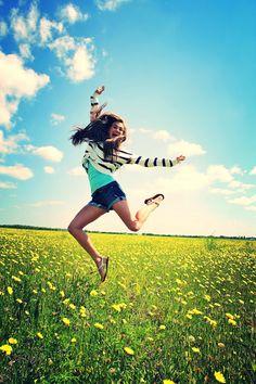 Senior Photo Shoot. Put mini trampoline hidden behind grass/flowers in field. Jump and catch a shot!