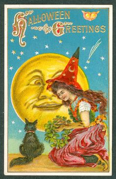 Vintage Halloween Witch with Black Cat and Smiling Full Moon Face