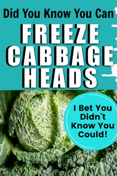 How to Freeze Fresh Cabbage Heads Don't let those fresh cabbage heads go to waste! With a few simple steps, you can freeze the cabbage heads for future use. Then, you'll have fresh cabbage for stir fry, soup, or other delicious dishes later. Freezing Cabbage, Freezing Fruit, Freezing Vegetables, Frozen Vegetables, Fruits And Veggies, Can You Freeze Cabbage, How To Store Cabbage, Freezing Milk, Canning Tips