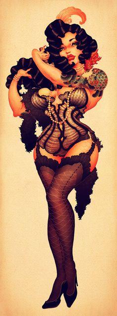 ONEQ/Pinup/Burlesque-Mermaid by ONEQ pinups, via Behance