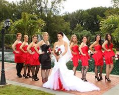Red and Black brides maids dresses | Red bridesmaid dresses with black shoes and a black MOH dress with red ...
