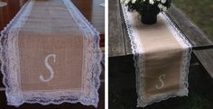 Pretty Monogrammed Burlap and Lace Runner for a Thanksgiving dinner table.