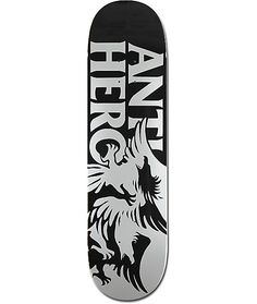 The Feeding Frenzy Skateboard Deck by Anti-Hero is draped in a clean silver and black colorway with a graphic depicting the silhouettes of two entangled hawks with the Anti-Hero logo to the left. A team model deck that has a maple construction Welcome Skateboards, Anti Hero Skateboards, Old School Skateboards, Complete Skateboards, Cool Skateboards, Skateboard Design, Skateboard Decks, Dangerous Sports, Hero Logo