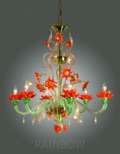 Orange and green Murano glass flower chandelier Chandelier Lamp Shades, Murano Chandelier, Flower Chandelier, Antique Chandelier, Chandelier Lighting, Home Theaters, Style Salon, Art Nouveau, Art Deco