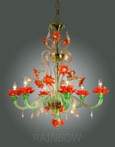 Orange and green Murano glass flower chandelier Chandelier Lamp Shades, Flower Chandelier, Murano Chandelier, Antique Chandelier, Home Theaters, Style Salon, Venetian Glass, Hanging Lights, Chandelier Lighting