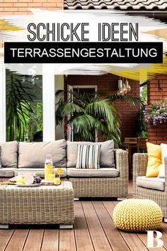 Terrassengestaltung - die schönsten Ideen und Stile. Die Terrassengestaltung sollte gut durchdacht sein, schließlich ist das Freiluftzimmer im Sommer in Dauerbenutzung. Wir stellen dir die schönsten Stile vor sowie hilfreiche Tipps und verraten, welche Highlights die Gestaltung abrunden. #wohnen #möbel #terrasse #gestaltung Outdoor Furniture Sets, Outdoor Decor, Highlights, Home Decor, Gutter Garden, Helpful Tips, Natural Stones, Cottage Chic, Asylum