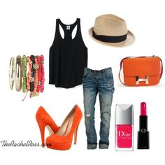 dress up a casual weekend outfit with heels  a pop of color. hot pink lips/nails with orange accessories = perfection.