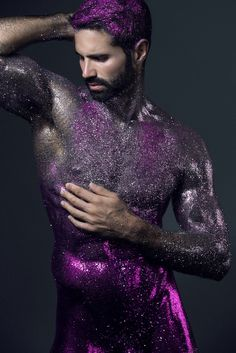 Pablo Robles in glamor look - captured by Carlos Medel Amazing male nude body photography / gorgeous athletic muscular shirtless male body / Yves Klein, Glitter Bomb, Body Glitter, Hot Men, Sexy Men, Fantasy Eyes, Photographie Art Corps, Body Painting Men, Body Art Photography