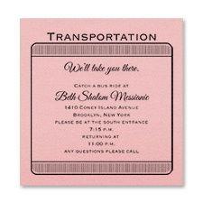 Exclusive VIP Pass - Accommodation Card - Pink Shimmer-Bat Mitzvah Transportation Card www.dmeventsanddesign.com