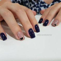 Ideas For Nails Blue Nailart Manicures Stylish Nails, Trendy Nails, Elegant Nails, Perfect Nails, Gorgeous Nails, Pink Nails, My Nails, Heart Nails, Navy Blue Nails