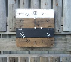 Reclaimed Wood Clock Black and White Clock by ThePalletDoctor