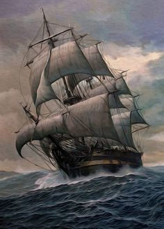 The All Inclusive Luxury Motor Yacht Charter Bateau Pirate, Old Sailing Ships, Ship Drawing, Ship Paintings, Ghost Ship, Black Sails, Wooden Ship, Ship Art, Tall Ships