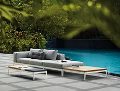 Contemporary style sectional upholstered garden sofa GRID | Contemporary style garden sofa - Gloster