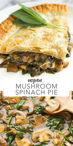 Vegan Mushroom Spinach Pie is part of Vegan Mushroom Spinach Pie Amy Le Creations - An easy to make vegan pie that has a saucy mushroom and spinach filling Makes the perfect comforting meal! Side Dish Recipes, Veggie Recipes, Whole Food Recipes, Cooking Recipes, Pie Recipes, Recipies, Bean Recipes, Vegan Dinner Recipes, Vegetarian Recipes