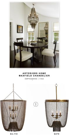 @bellacor Arteriors Home Maxfield Chandelier $4,110 vs @potterybarn Atherton Chainmail Chandelier $479