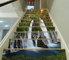 Waterfall 9800 Stair Risers Decoration Photo Mural Vinyl Decal Wallpaper US Stair Stickers, Photo Wall Stickers, Stairway Art, Stairway To Heaven, Staircase Decals, Painted Staircases, 3d Foto, Marble Stairs, Decoration Photo
