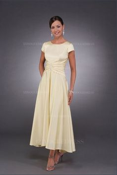 A-Line/Princess Jewel Ankle-length Elastic Woven Satin Mother of the Bride Dress