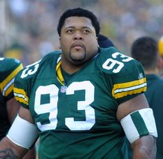 Gilbert Brown (#93) played nose tackle for the Packers from 1993 to 1999 and from 2001 to 2003.