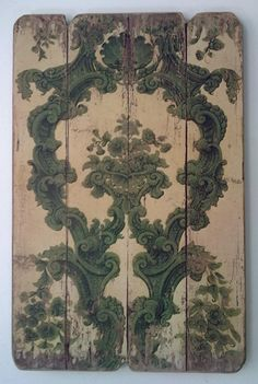 Vintage Boiserie - Green Print  ::    	 Colour print on timber board.  Decorations like this made out of planks for our coffee shop walls would be lovely!