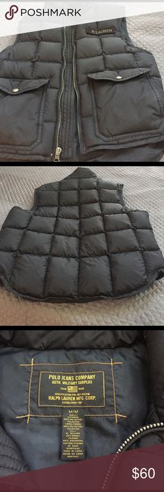R.Lauren vest Black warm almost new Lauren Ralph Lauren Sweaters Zip Up