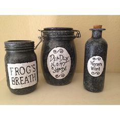 Sally's Jars from The Nightmare before Christmas ($50) ❤ liked on Polyvore featuring home, home decor, handmade home decor, christmas home decor and christmas jars