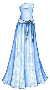 Mermaid Monday #16: Blue Strapless Gown with Silver Sash and Ocean Pattern | Liana's Paper Dolls