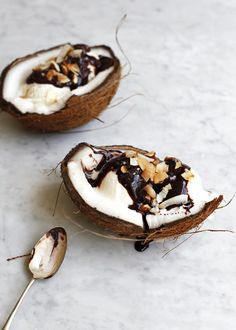 Coconut Ice Cream Sundae in a coconut, with Candied Smoked Almonds