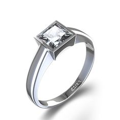 Tapered Princess Cut Bezel Set Diamond Engagement Ring in Palladium