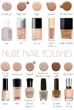 SWATCHES :: Nude Nail Polish :: WARM: Chanel Beige, D Caramel, Dior Beige Lotus... NEUTRAL: MAC Muscle Tone, LMdB Hottie Choco-Latte, Revlon Sandy Nude... COOL: OPI Did You 'Ear About Van Gogh, Avon Barefoot Beige, Sally Hansen Royal Blush... SHEER: Deborah Lippmann Naked, Essie Au Natural | #nudes #nudenailpolish #nudepolish