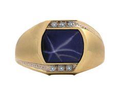 Gold and Diamond Fancy Antique Cut Star Sapphire Men's Ring (Online at Gemologica.com)