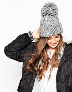 cf78f3f2a925f ASOS Extra Chunky Beanie With Extra Large Pom at asos.com