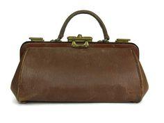 Français ancien médecins sac en cuir. Sac en cuir brun antique Gladstone.