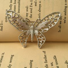 Silver Butterfly Brooch Pin, Sarah Coventry Pin, Silver Filigree Brooch, Silver Brooch Pin, Vintage Butterfly Pin, Sarah Cov Brooch Jewelry by FemByDesign on Etsy