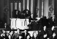 On December 8th, President Franklin Roosevelt speaks to a joint session of Congress in Washington and signs the declaration of war against Japan. The Senate responded with a unanimous vote in support of the war; only one Representative dissented in the House.