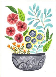 Original fine art illustration watercolor. Original artwork flowers design Floral botanical paint colorful collectibles Wall decor lifestyle de LaCasuni en Etsy https://www.etsy.com/es/listing/265203964/original-fine-art-illustration