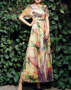 #AdoreWe #VIPme Designer Casual Dresses - Designer BORME Stunning Folds Frill Sleeve Casual Crew Neck Abstract Maxi Dress - AdoreWe.com