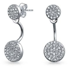 Bling Jewelry Bling Jewelry Sterling Silver Modern Double Disc Cz Ear... ($28) ❤ liked on Polyvore featuring jewelry, earrings, clear, disc earrings, clear crystal earrings, pave jewelry, cz jewelry and pave disc earrings