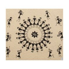 A Warli painting with vignettes of Warlis' way of life Worli Painting, Fabric Painting, Block Painting, Painting People, Pottery Painting, Madhubani Art, Madhubani Painting, Indian Art Paintings, Easy Paintings