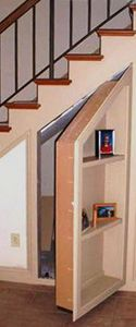 Secret Bookcase Door Under Stairs http://www.stashvault.com/how-to-build-a-secret-bookcase-door/